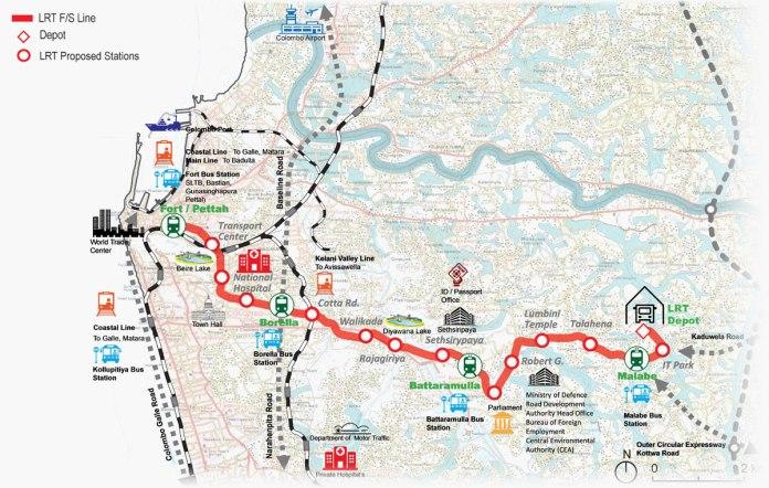 colombo light rail route map